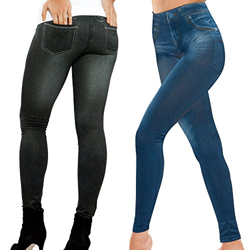 Genie Women's Jeggings (2 pack S/M, Blue/Black) (Genie Leggings M)