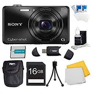 Sony DSC-WX220/B DSCWX220 WX220 WX220B DSC-WX220 Black Digital Camera Bundle - Includes Camera, 16GB SDHC/SDXC Memory Card, Carrying Case, NP-BN1 Battery, SD Card Reader, Flexible Mini Tripod, LCD Screen Protectors, and More