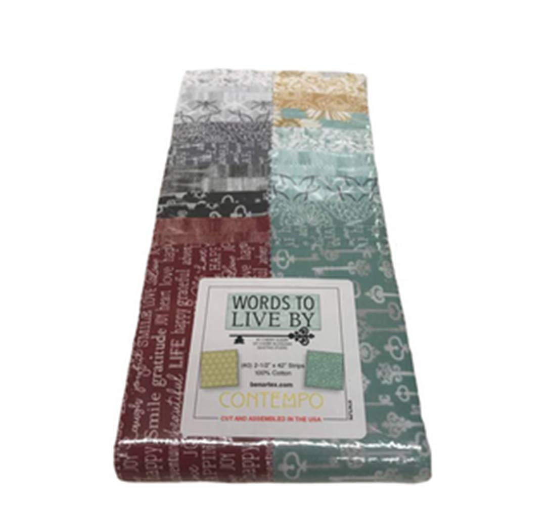 Amazon.com: Words to Live by Strip-Pies 40 2.5-inch Strips Jelly Roll by  Cherry Guidry for Benartex