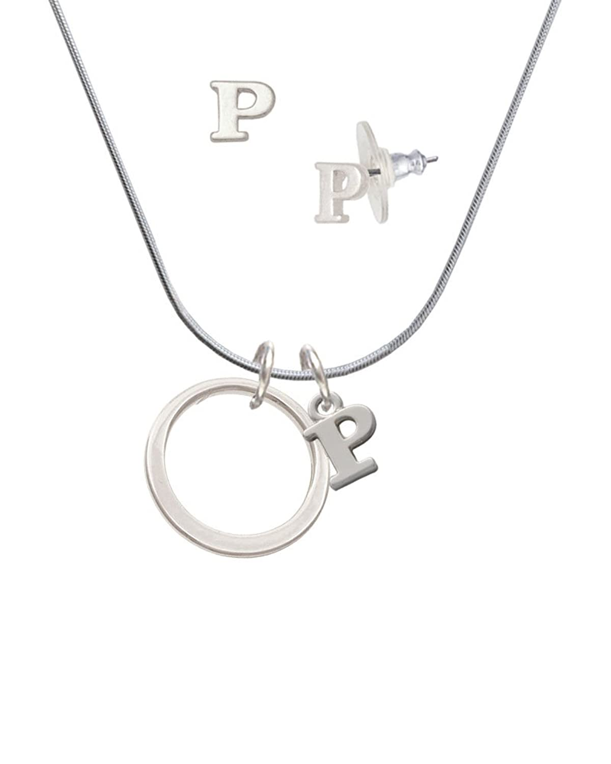 Large Karma Ring - P Initial Charm Necklace and Stud Earrings Jewelry Set