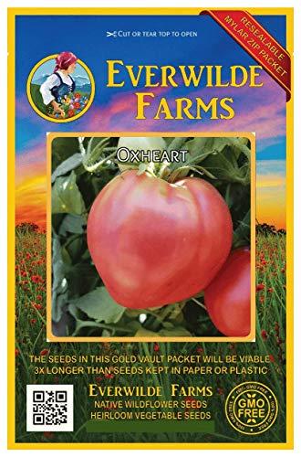 (Everwilde Farms - 100 Oxheart Tomato Seeds - Gold Vault Jumbo Seed)