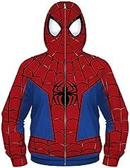 Leezeshaw Unisex Boys Girls 3D Captain America Print Zip Up Hoodie Sweatshirt