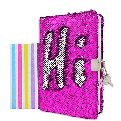 """VIPbuy Magic Reversible Sequin Notebook Diary Lined Travel Journal with Lock and Key for Kids Girls, Size A5 (8.5"""" x 5.5""""), 78 Sheets, Rose Red to Silver"""