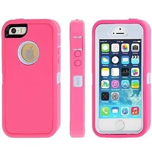 Plastic Screen Protector de TPU Case Cover Combination Carcasa para iPhone 5 5S & () Magenta