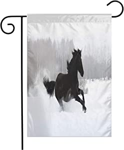 Pansyhome Welcome Garden Flag Vertical Action Freedom Free Black Friesian Horse Mane Run Flutters On Warmblood Nature Design Field Stable Yard Outdoor Decorative 12 x 18 Inch