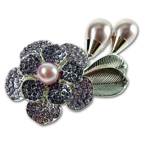 Janeo Costume Jewelry Fashion Brooch, Dress Pin, Pearls & Flower Decorative Design Swarovski Crystal Elements, Womens Vintage Timeless Design, Christmas Gift Wrapped Her Under $13 (Dress Layer Amethyst)