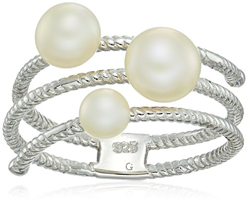 Bella Pearl Sterling Silver Triple White Ribbed Shank Ring Open Shank Ring