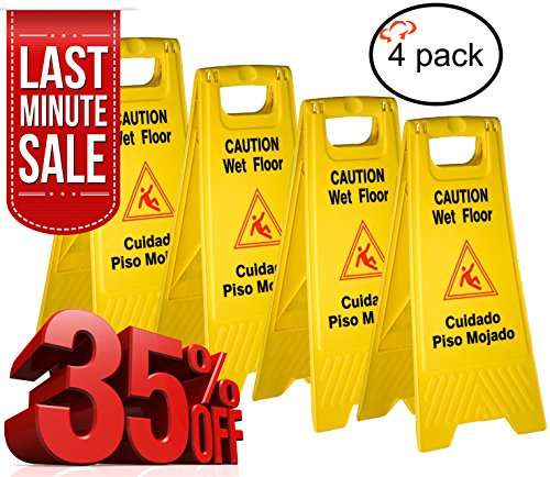 Tiger Chef Yellow Wet Floor Caution Sign, 2-sided