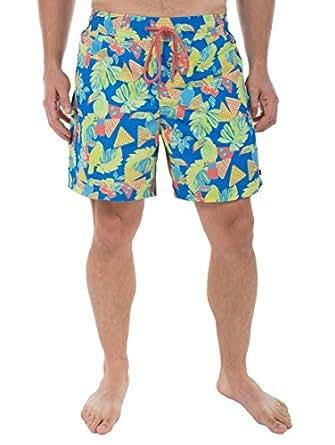 Men's Toucan Print Swim Trunks - Short Neon Swim Trunks: Small