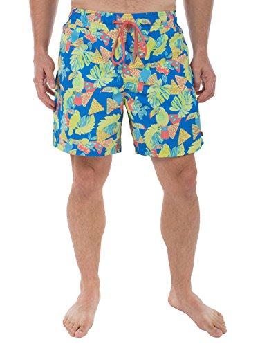 [Men's Toucan Print Swim Trunks - Short Neon Swim Trunks: X-Large] (80s Fashion Men)