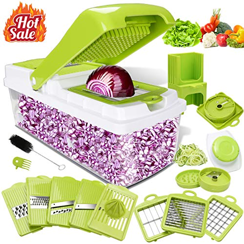 Kithouse Vegetable Chopper Onion Chopper Food-Veggie-Salad-Fruit-Chopper Dicer Mandoline Slicer Cutter - NO MORE TEARS Heavy Duty Manual Chopper Vegetable Spiralizer Handheld(10 Blades)