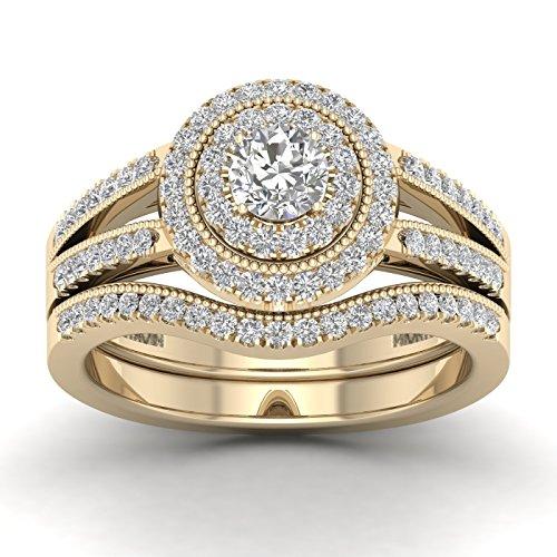 Fehu Jewel 0.79ct Natural Diamond 14k Gold Wedding Ring Set for Women (Yellow-Gold, 10) -