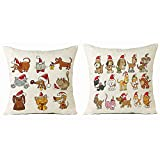 Soft Christmas Animals Pillow Case Sofa Waist Throw Cushion Cover Home Decor, Set of 2