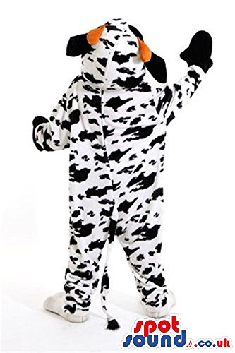 Cool Cow Plush SPOTSOUND US Mascot Costume With Many Black Spots And Red Tongue (Plush Cow Mascot Costume)