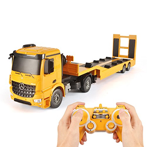 Fistone RC Truck Licensed Mercedes-Benz Acros Detachable Flatbed Semi-Trailer Engineering Tractor Remote Control Low Loader Die-Cast Car Model Kids Electronics Hobby Toy with Sound and Light Effect