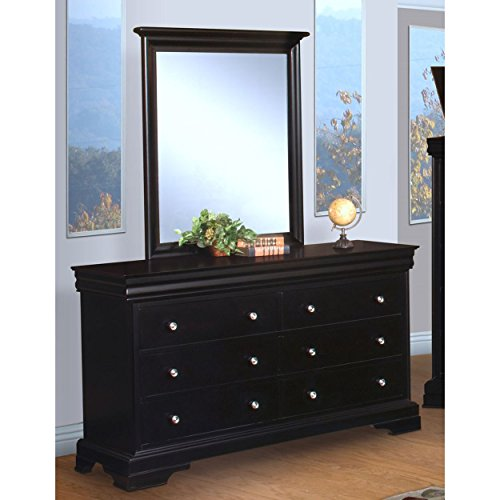 Black Hills Traditional Youth Sleigh 4 Piece Twin Bed, Nightstand, Dresser & Mirror in Black by NCF (Image #2)