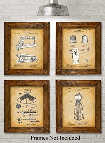 Original Sewing Patent Art Prints - Set of Four Photos (8x10) Unframed - Makes a Great Gift Under $20 for Sewers, Fashion Designers or Seamstresses
