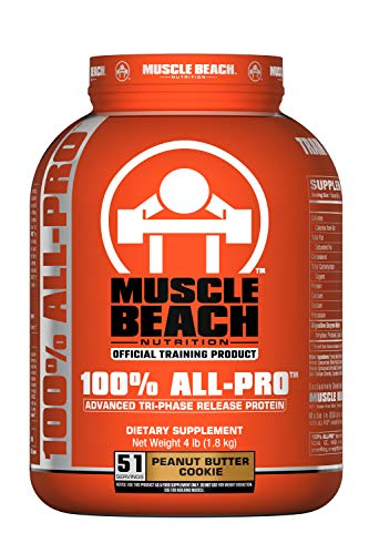 Muscle Beach Nutrition 100% All-Pro Advanced Tri-Phase Release Protein (Peanut Butter Cookie, 4lb) Whey Protein Isolate, Micellar Casein, Whey Protein Concentrate