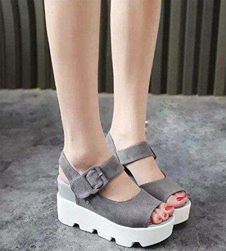 El aumento de las sandalias del verano mujeres de las sandalias planas del talón con sandalias de plataforma anti-deslizamiento de tierra Grey