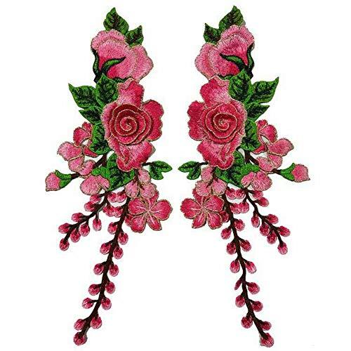 (DIY Flower Floral Embroidered Lace Neckline Collar Trim Neck Applique Clothes Dress Sewing Supplies Craft Decoration Patches 2 Pcs (Pink) )