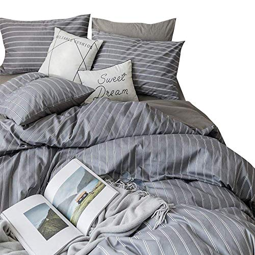 AMWAN Cotton Grey Striped Duvet Cover Set Queen Modern Soft Reversible Gray Bedding Set Full Hotel Quality 3 Piece Comforter Cover Set Queen Bed Luxury Geometric Stripe Bedding Collection (Comforter Striped Set Grey)