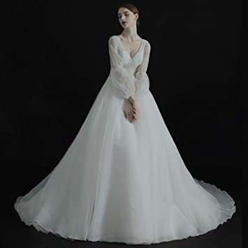 WFL Vestido de Novia Sen luz Novia se casó con una Palabra Hombro V Cuello Qi