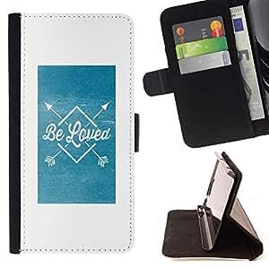 BullDog Case - FOR/Sony Xperia Z3 D6603 / - / be loved blue arrow poster white text /- Monedero de cuero de la PU Llevar cubierta de la caja con el ID Credit Card Slots Flip funda de cuer