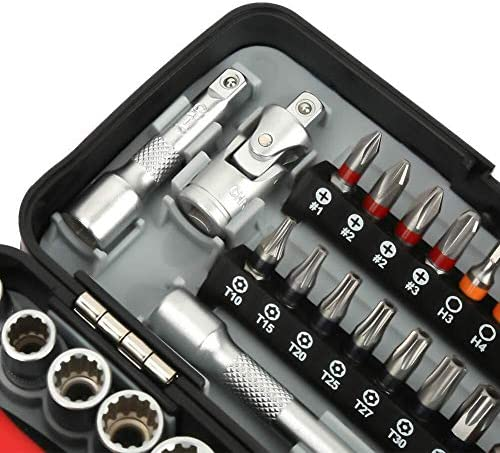 LONGJUAN-C Tools 38pcs Mini Socket Spanner Set Socket Wrench and Screwdriver Tools with Ratchet Handle Wrench