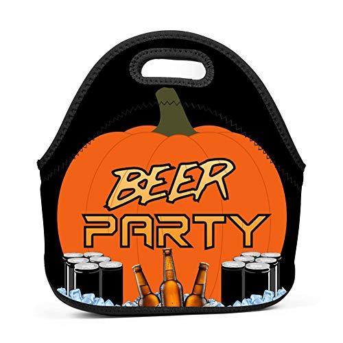 TADAWZD Big Halloween Beer Party Insulated Lunch Tote Bag Reusable Neoprene Cooler, Portable Lunchbox Handbag for Men Women Adult Kids Boys Girls -
