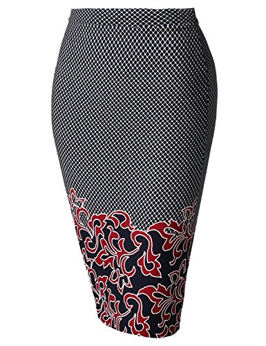 Fitted Stretch Printed High Waist Midi Pencil Skirt Border Black Red Size 3XL