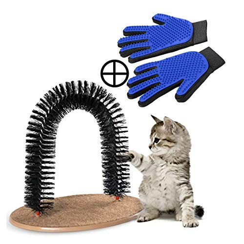 PRECIS Self Grooming Cat Arch Brush with 1 Pair Fur Remover Glove, Groomer, Massager, Scratcher for Controlling Shedding