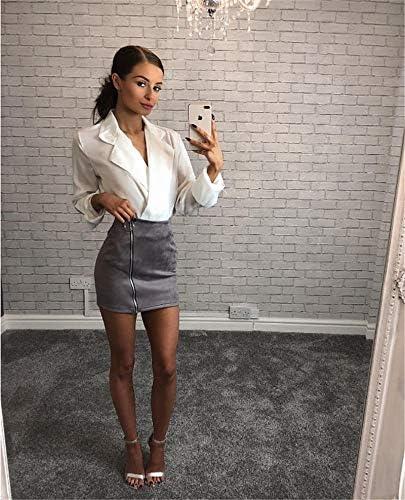 QBXDQ Falda Corta Cintura Alta Mini Faldas Cortas Mujeres Damas ...