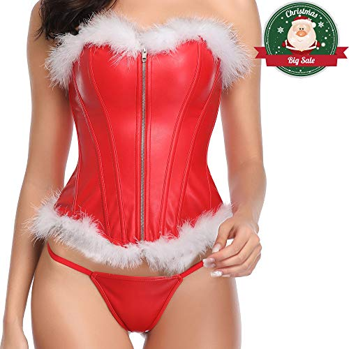 (MISS MOLY Faux Leather Corset Vest Plus Size Lingerie Buckle Lacing Steel Boned (Large, Red Christmas)