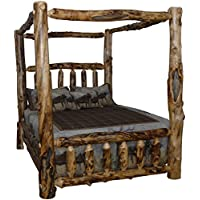 Rustic Aspen Log Queen Canopy Bed