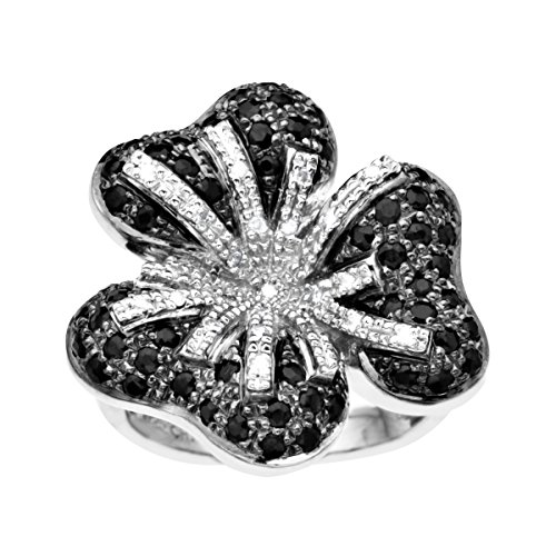 Natural Sapphire & 1/6 ct Diamond Flower Ring in Sterling Silver Size 7 (Seven Diamond Flower Ring)