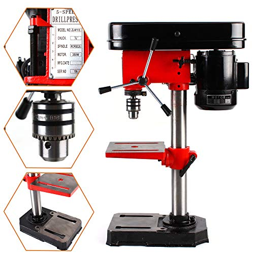 110V 350W Electric Bench Drill Press Stand Mini Drilling Machine Adjustable Angle & Speed