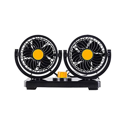 Car Fans Electric Auto Cooling Fan 4.5-Inch Double-Headed Two-Speed High-Speed 24V Dual Gear Speed Auto Mini Electric Adjustable Car-Mounted Head Double Headed Portable Cool Air (24V, Orange)