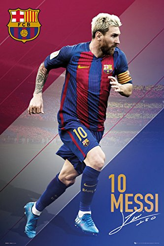 FC Barcelona - Soccer Poster / Print (Lionel Messi #10 - Blonde Hair - 2016/2017) (Size: 24'' x 36'') (By POSTER STOP ONLINE) by POSTER STOP ONLINE