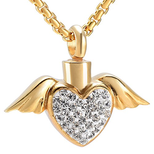 EternityMemory Angel Wing Hold White/Blue/Pink Crystal Heart Cremation Jewelry Urn Necklace For Loved Ones Ashes (Gold With White (Gold Pink Crystal Heart)
