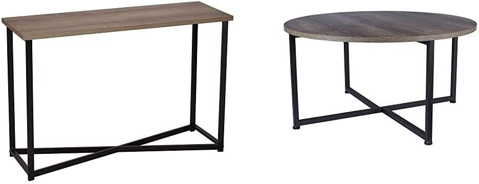 Household Essentials Ashwood Sofa Table | Console Table for Entryway | Gray-Brown & Grey Top Black Frame Ashwood Round Coffee Table