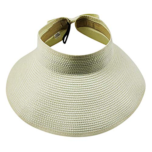 Sanyyanlsy Women Adjustable Backstrap Visor Sun Protection Wide Brim Hat Foldable Portable Summer Beach Style Unisex Cap Beige