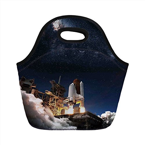 Neoprene Lunch Bag,Galaxy,Shuttle on Take off Discovery Mission to Explore Galaxy Spaceship Solar Adventure,Blue White,for Kids Adult Thermal Insulated Tote Bags -