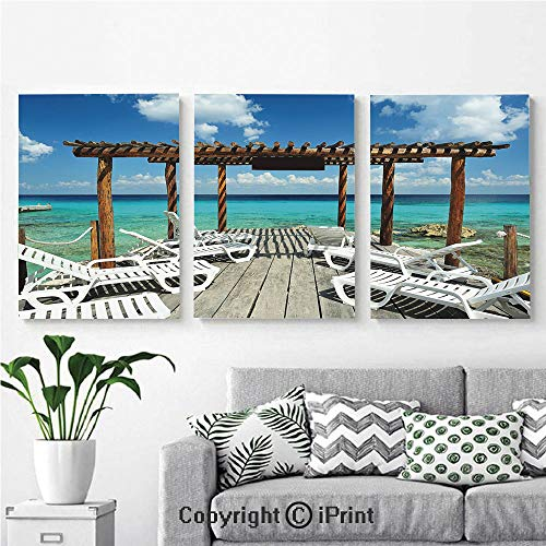 Modern Salon Theme Mural Beach Sunbeds Ocean Sea Scenery with Wooden Seem Pier Image Painting Canvas Wall Art for Home Decor 24x36inches 3pcs/Set, Blue White and Light Brown (Bed Wall Piers With King)