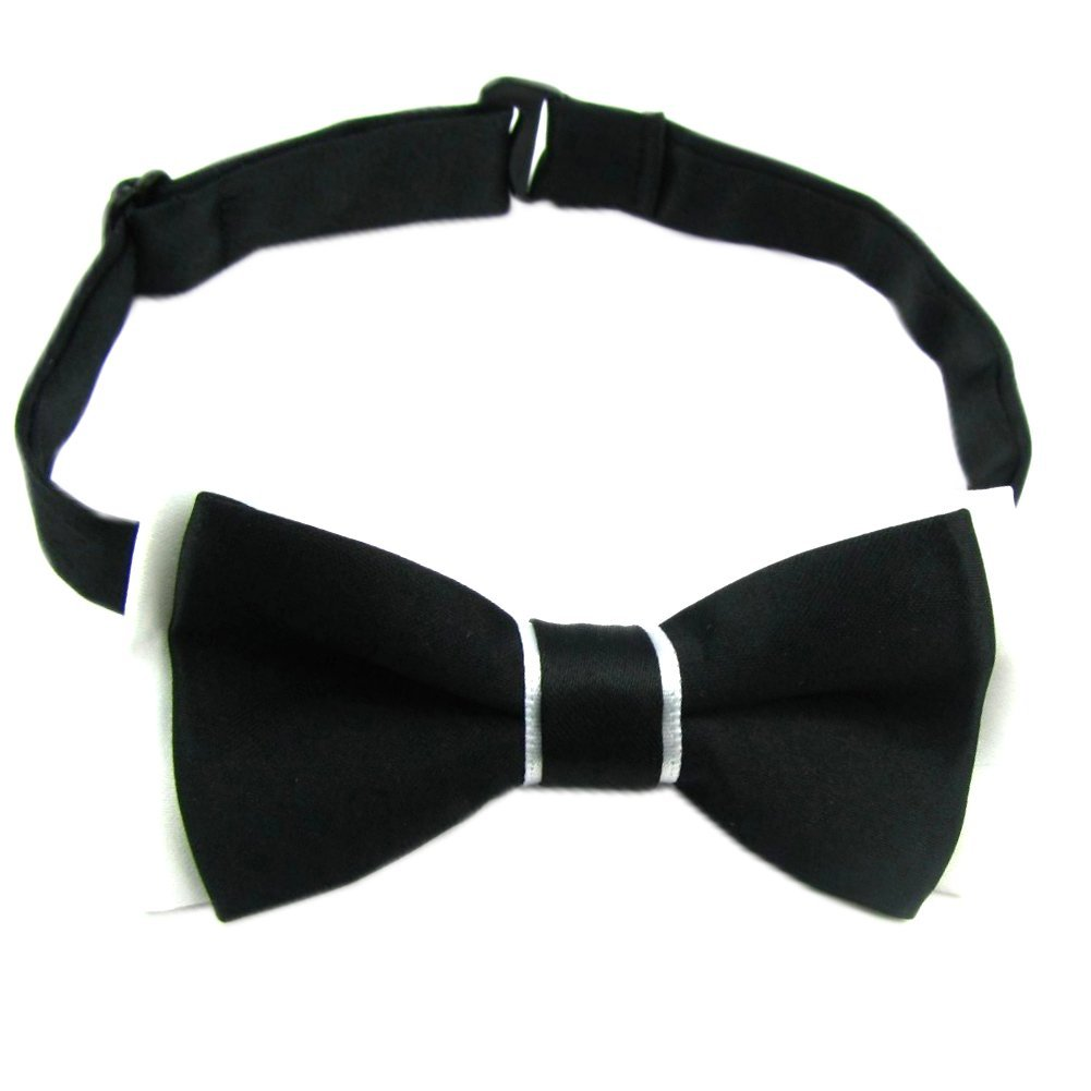 Enwis kids Bow Tie Pre Tied Wedding Party Double Color Black White BC23