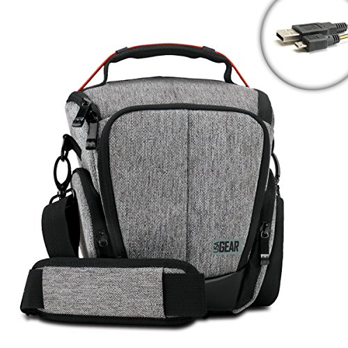 DSLR Camera Case Bag with Smooth Streamlined Shape , Soft Cushioned Interior and Side Storage Pockets by USA Gear - Works Great for Nikon D3300 , D7000 , D5200 and More DSLR Cameras