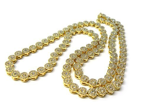 JOTW Goldtone Iced Out 33 Inch Sunflower Cluster Chain Necklace [Jewelry]