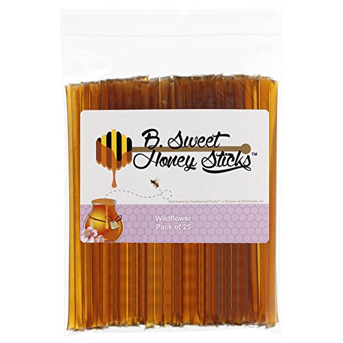 (B. Sweet Honey Sticks - Wildflower, 25 ct, 100% All Natural, US Grade A Wildflower Honey, Gluten Free, BPA Free.)