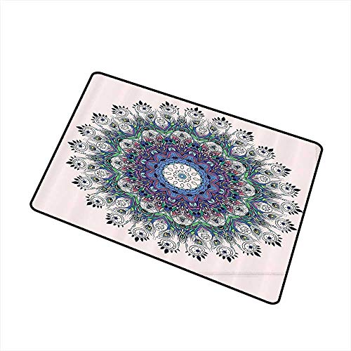 (Axbkl Throwing mat Mandala Peacock Feather Decor Bird Design Moroccan Motif W20 xL31 Quick and Easy to Clean Rose Green Purple Blue)