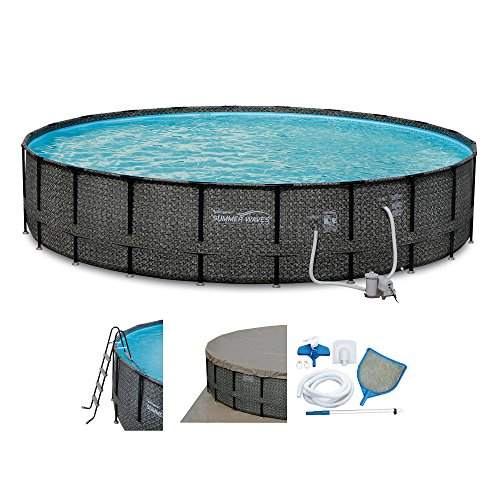 "Summer Waves Elite Wicker Print 22' x 52"" Above Ground Frame Pool Set w/ Pump"