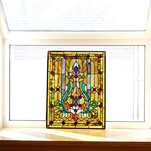 Fleur de Lis Stained Glass Panel: 24.75 Inch Decorative Tiffany Style Window Hanging - Large Framed Vertical Floral Hangings for the Wall or Windows with Blue, Purple, Green and Red Accents by River of Goods (Image #2)
